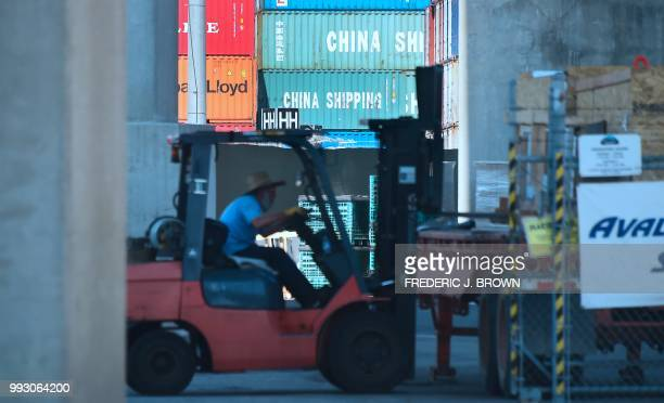 Containers are stacked at the Port of Long Beach in Long Beach California on July 6 including some from China Shipping a conglomerate under the...