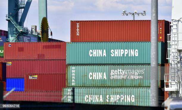 Containers are stacked on a vessel at the Port of Long Beach in Long Beach California on July 6 including some from China Shipping a conglomerate...