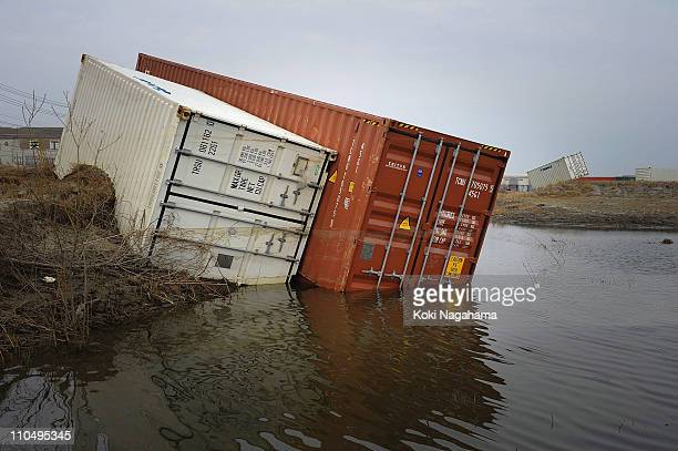 Containers are washed away on March 20 2011 in Kashima Ibaraki Japan The 90 magnitude strong earthquake struck offshore on March 11 at 246pm local...