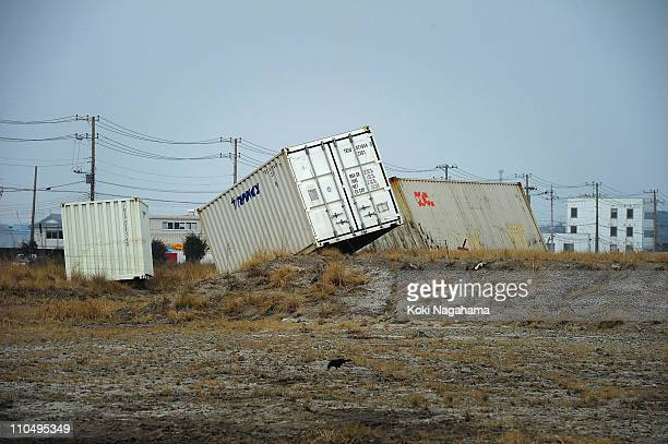 Containers are washed away on March 20, 2011 in Kashima, Ibaraki, Japan. The 9.0 magnitude strong earthquake struck offshore on March 11 at 2:46pm...