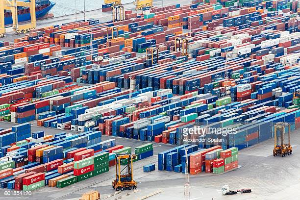 Containers at the commercial dock in Barcelona, Catalonia, Spain