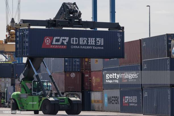 Containers from China are carried at terminal in the Duisburg port on July 16 2018 in Duisburg Germany Approximately 25 trains a week use the Silk...