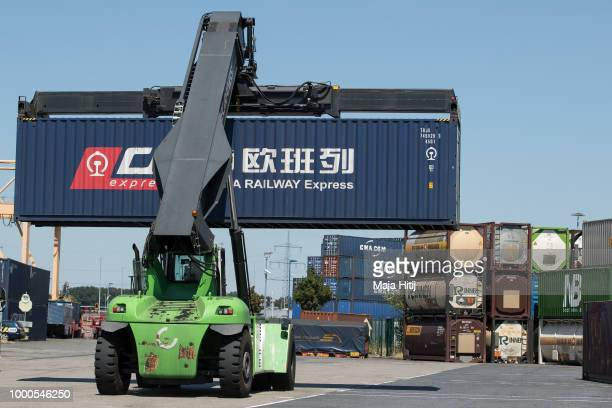 Containers from China are carried at terminal in the Duisburg port on July 16 2018 in Duisburg Germany Approximately 25 trains a week use the 'Silk...