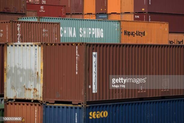 Containers from China are seen at terminal in the Duisburg port on July 16 2018 in Duisburg Germany Approximately 25 trains a week use the 'Silk...