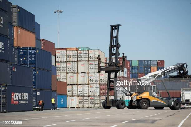 Containers from China are seen at terminals in the Duisburg port on July 16 2018 in Duisburg Germany Approximately 25 trains a week use the Silk Road...