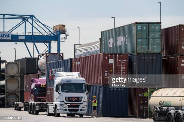 Containers from China are seen at terminals in the Duisburg port on July 16 2018 in Duisburg Germany Approximately 25 trains a week use the 'Silk...