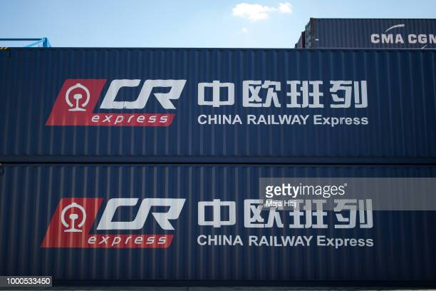 Containers from China are seen in the Duisburg port on July 16 2018 in Duisburg Germany Approximately 25 trains a week use the 'Silk Road' connection...