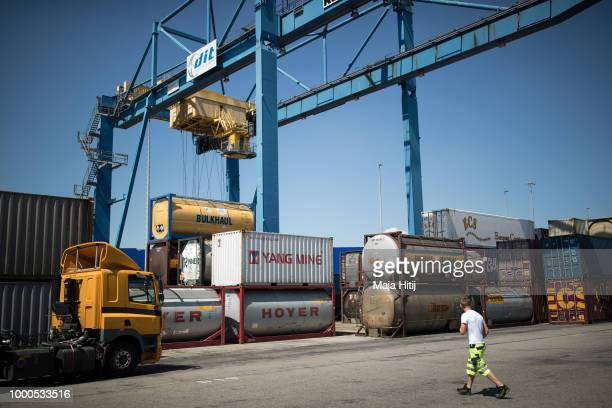 Containers from China are seen in the Duisburg port on July 16 2018 in Duisburg Germany Approximately 25 trains a week use the Silk Road connection...