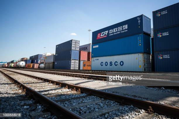 Containers from China are seen next to the train station in the Duisburg port on July 16 2018 in Duisburg Germany Approximately 25 trains a week use...