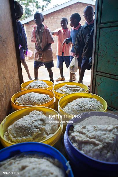 Containers full of Matoke waiting to be served to the 800 children at Graissa Road Primary School in Thika, Kenya. The kitchen staff wages are paid...