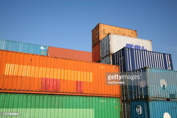Containers in a harbor