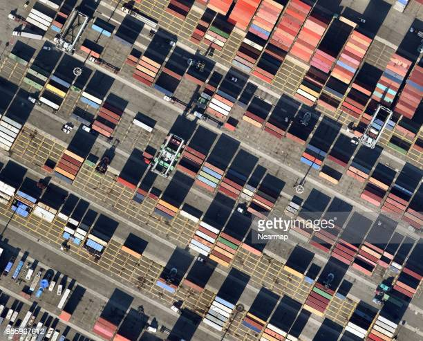 Containers in harbor area from above