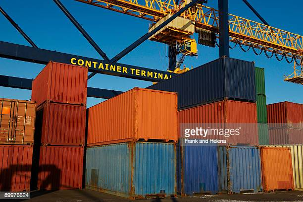 Containers in stacks at port
