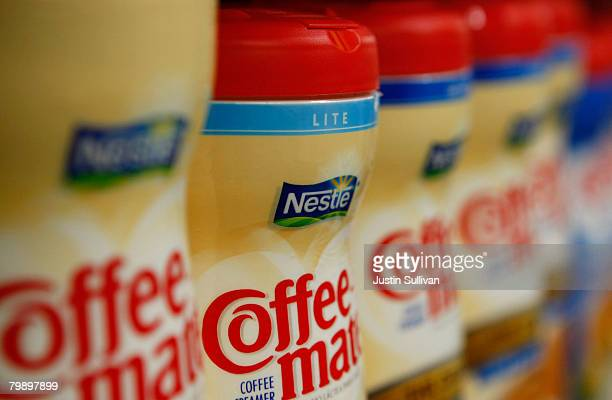 Containers of Nestle Coffee Mate coffee creamer are displayed on the shelf at the Marina Supermarket February 21 2008 in San Francisco California...