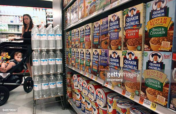 Containers of Quaker Oats oatmeal and instant oatmeal are seen on the shelves of an Associated Supermarket in New York City on Tuesday, July 12,...