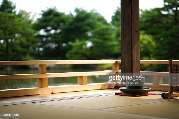 Containers On Tatami Mat In Gazebo At Park