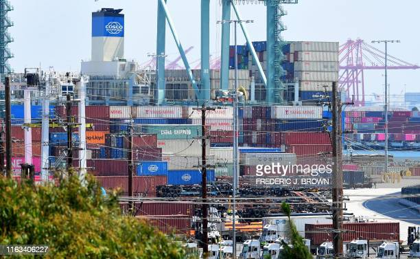Containers piled high at the Cosco Shipping docks at the Port of Long Beach on August 23 2019 in Long Beach California President Donald Trump hit...