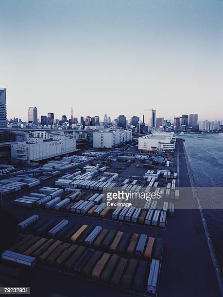 Containers port, elevated view