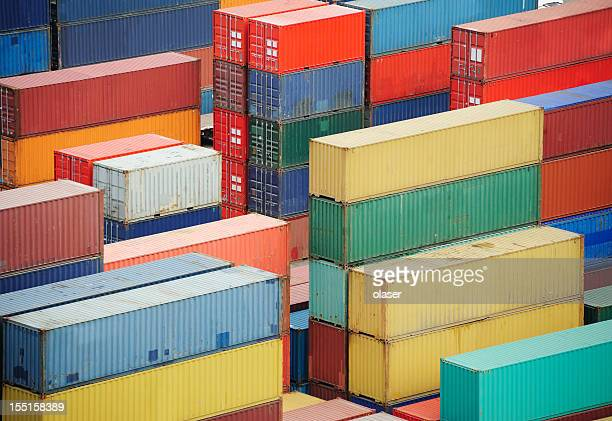 containers ready for shipping - cargo container stock pictures, royalty-free photos & images