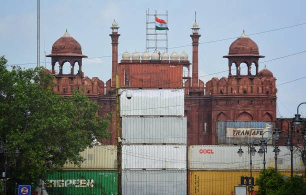 IND: Containers Placed In Front Of Red Fort Ahead Of Independence Day Celebrations