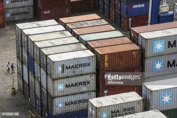 Containers sit stacked in a yard at Krishnapatnam Port in Krishnapatnam Andhra Pradesh India on Saturday Aug 12 2017 Growth in gross domestic product...