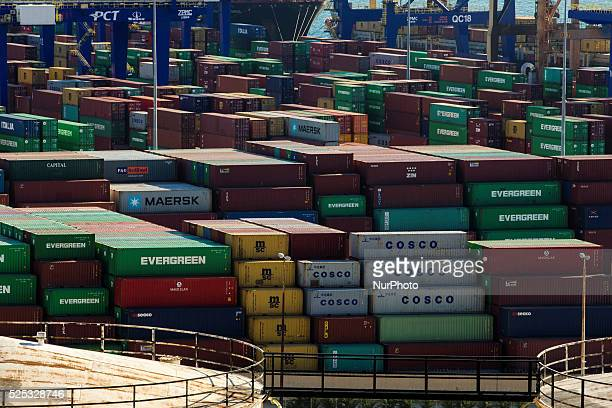 Containers stacked in COSCO owned yard in Piraeus on March 4 2015 China Ocean Shipping Company known as COSCO is the company in charge of...