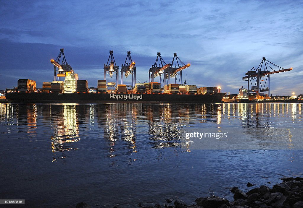 A containership of German shipping company 'Hapag-Lloyd' is pictured at the loading terminal 'Altenwerder' in the harbour of Hamburg, northern Germany, on late June 1, 2010. For Germany, the crisis of confidence that has slammed the eurozone is not all bad -- a weak euro stimulates exports and means that its debt is easier to finance, economists say.