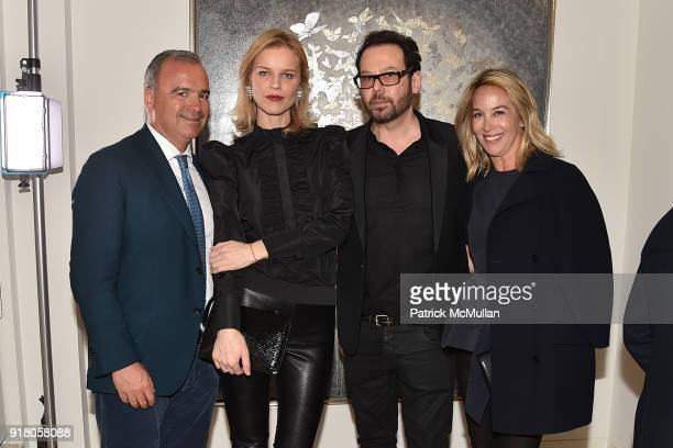 Conte Eva Herzigova Neil Grayson and Hillary Thomas attend Neil Grayson Industrial Melanism solo exhibition at Eykyn Maclean Gallery on February 13...