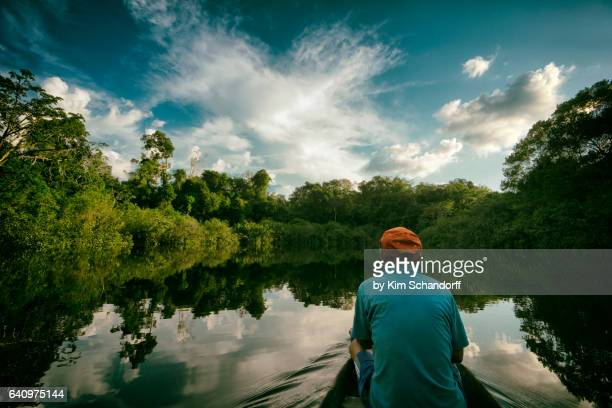 contemplating the rainforest from a canoe - iquitos stock pictures, royalty-free photos & images