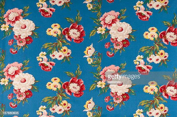 Contemplation Blue Medium Antique Floral Fabric