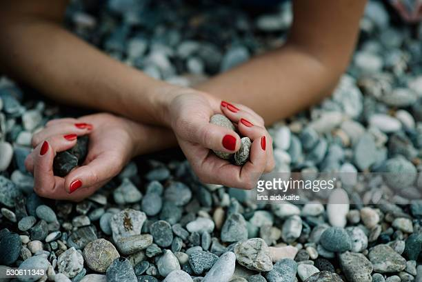 contemplation - red nail polish stock pictures, royalty-free photos & images
