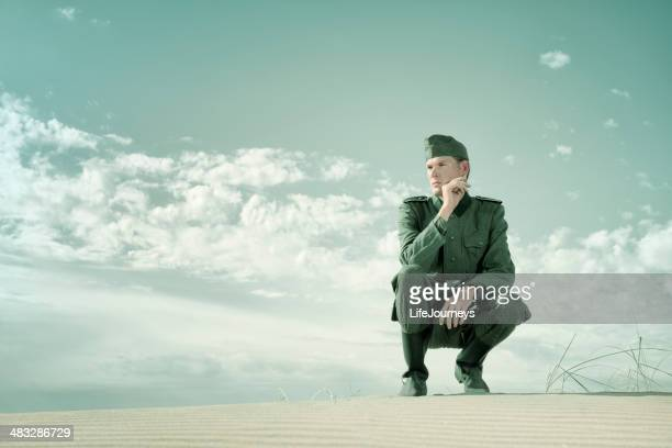contemplative german soldier - german military stock pictures, royalty-free photos & images