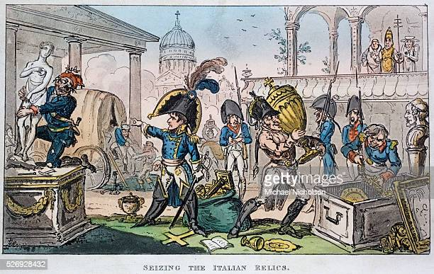 Contemporaneous British propaganda print by George Cruiskshank depicting Napoleon and his army as despoilers of Italy.