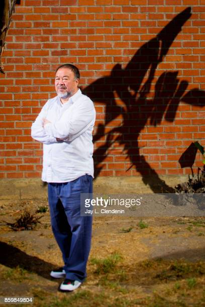 Contemporary and controversial Chinese artist Ai Weiwei is photographed for Los Angeles Times on September 29 2017 in Los Angeles California...