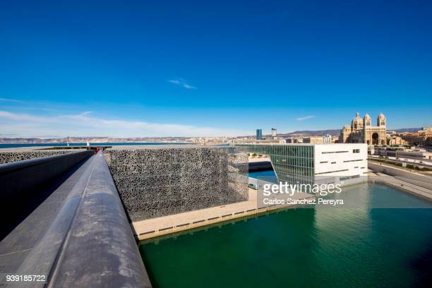 mucem contemporary architecture in marseille - bouches du rhone stock pictures, royalty-free photos & images