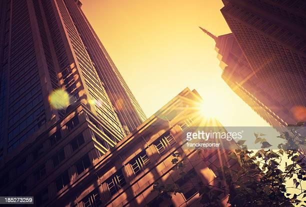 Contemporary architecture skyscraper against sun in Philadelphia