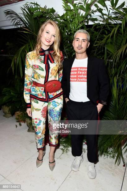 Contemporary Art Specialist at Artsy Elena Soboleva and Job Piston attend the Gucci X Artsy dinner at Faena Hotel on December 6 2017 in Miami Beach...