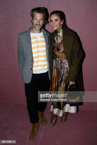 Contemporary artist Aaron Young and Laure HeriardDubreuil attend the Berluti Menswear Fall/Winter 20182019 show as part of Paris Fashion Week on...