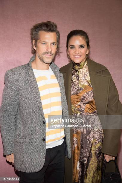 Contemporary artist Aaron Young and Laure HeriardDubreuil attends the Berluti Menswear Fall/Winter 20182019 show as part of Paris Fashion Wee January...