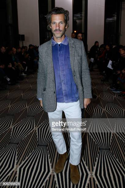Contemporary artist Aaron Young attends the Haider Ackermann Menswear Fall/Winter 20182019 show as part of Paris Fashion Week on January 17 2018 in...