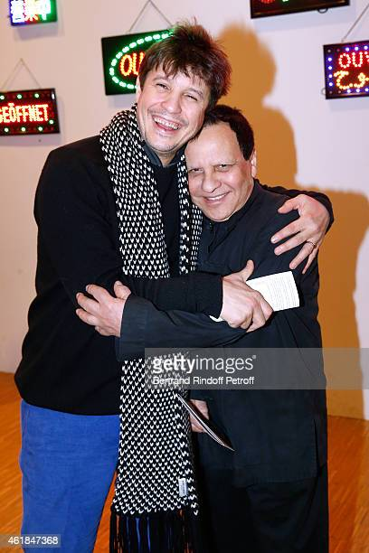 Contemporary Artist Adel Abdessemed and Azzedine Alaia attend the 'Societe des Amis du Musee National d'Art Moderne' Dinner at Beaubourg on January...
