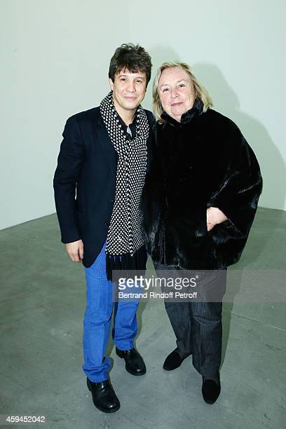 Contemporary artist Adel Abdessemed and Maryvonne Pinault attend a closing party and a private view in honor of the 'Solo' exhibition by Adel...