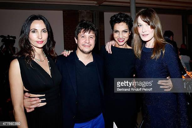 Contemporary artist Adel Abdessemed his wife Julie Abdessemed Farida Khelfa Seydoux and Carla Bruni attend the 'Alaia' Azzedine Alaia Perfum Launch...