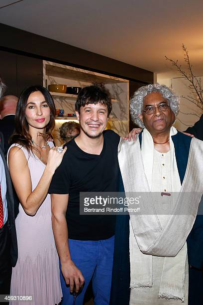 Contemporary artist Adel Abdessemed with his wife Julie and Indian Architect Rajeev Sethi attend Helene Cixous receives Insignia of Officer of the...