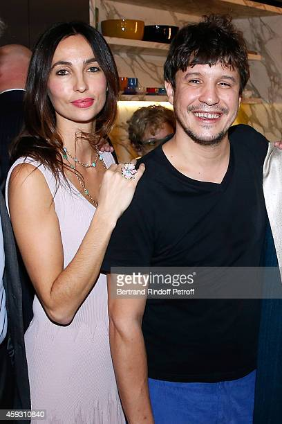 Contemporary artist Adel Abdessemed with his wife Julie attend Helene Cixous receives Insignia of Officer of the Legion of Honor at the Home of Adel...