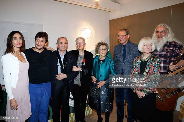 Contemporary artist Adel Abdessemed with his wife Julie Helene's Editor Michel Delorme Literary criticism Helene Cixous actress Emmanuelle Riva...