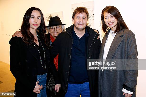 Contemporary artist Adel Abdessemed with his wife Julie Poete Adonis and Lida Guan attend the 'Jean Nouvel and Claude Parent Musees a venir'...