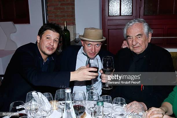 Contemporary artist Adel Abdessemed Writer Fabrice Bousteau and Artist Daniel Buren attend the 'Jean Nouvel and Claude Parent Musees a venir'...