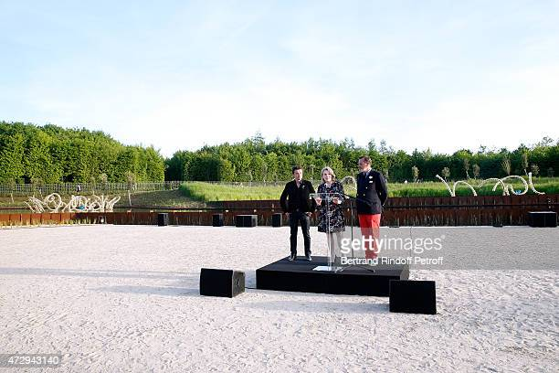 Contemporary Artist and Sculptor of fountains of the Bosquet du Theatre d'eau JeanMichel Othoniel President of the Versailles Castle Catherine Pegard...