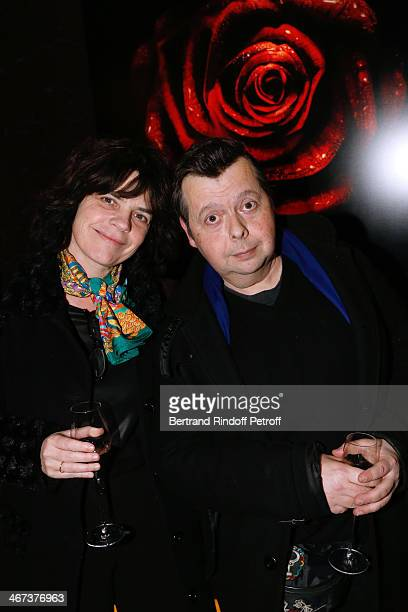 Contemporary Artist Richard Di Rosa and his wife Genevieve Di Rosa attend the Arthur Aubert Exhibition private view Held at Le Fouquet's Barriere...